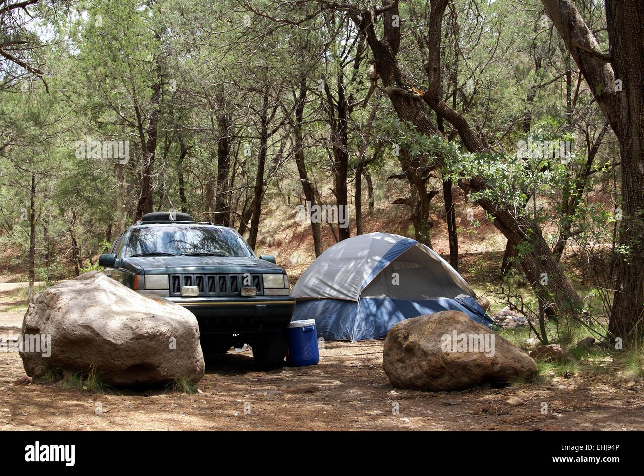 Primitive campground with tent and SUV in the forest - Stock Image