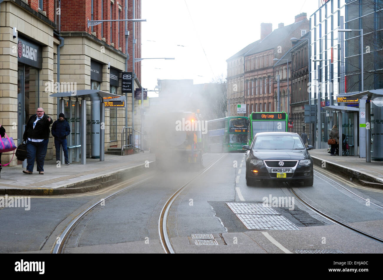 Nottingham,UK.14th March 2015.Nottingham city council road sweeper creates more dirt than it cleans-up.The road - Stock Image