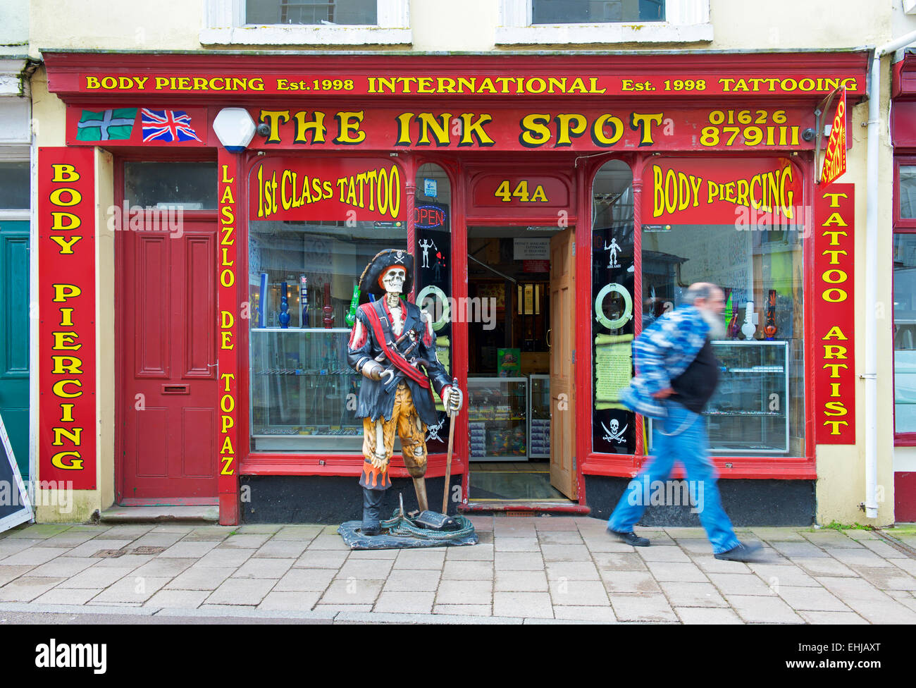 The Ink Spot, tattoo and body piercing shop, Teignmouth, Devon, England U - Stock Image