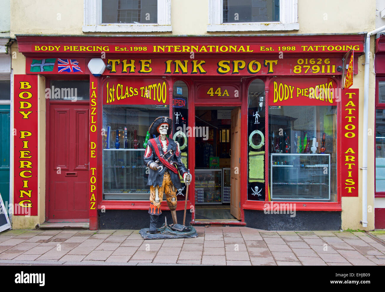The Ink Spot, tattoo and body piercing shop, Teignmouth, Devon, England UK - Stock Image