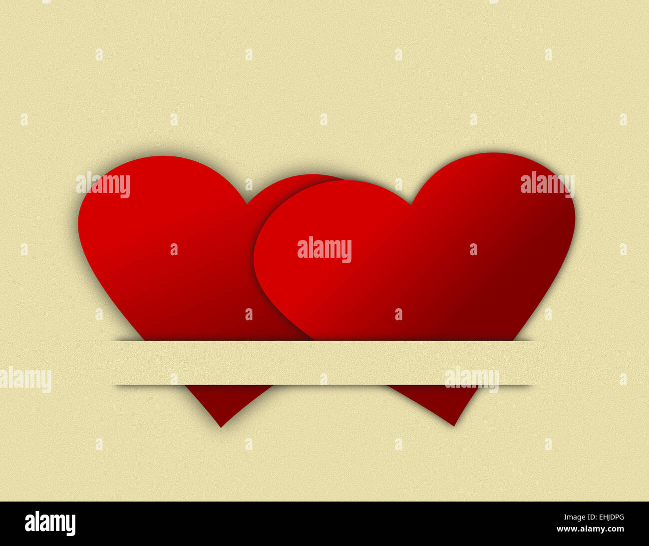 Heart Cutouts Tucked Together - Stock Image