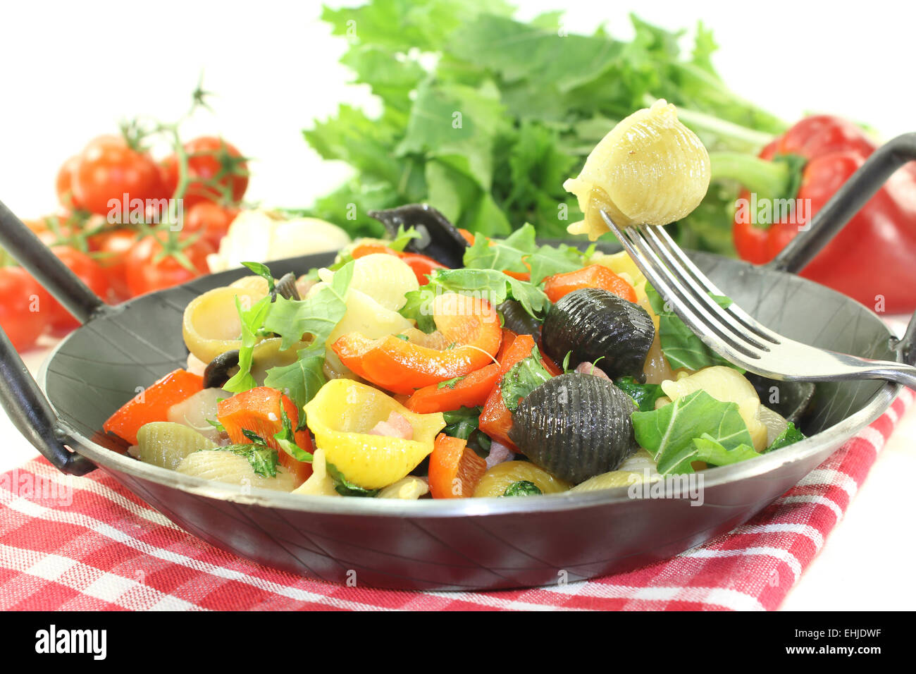 fresh pasta pan with bell pepper Stock Photo