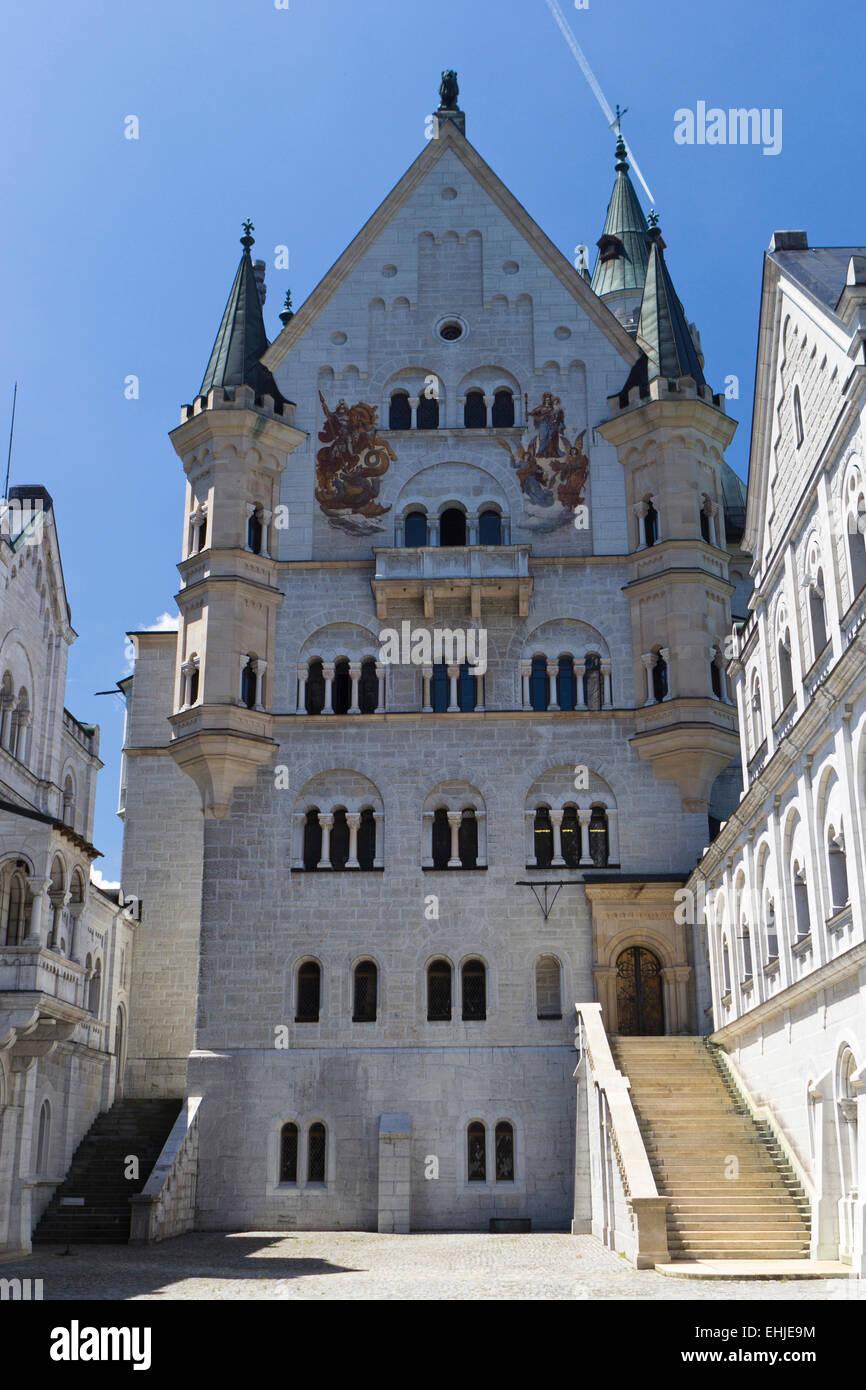 Neuschwanstein castle -  Castle courtyard - Stock Image