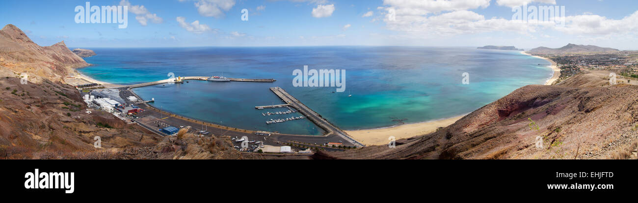Porto Santo Harbour overview - Stock Image