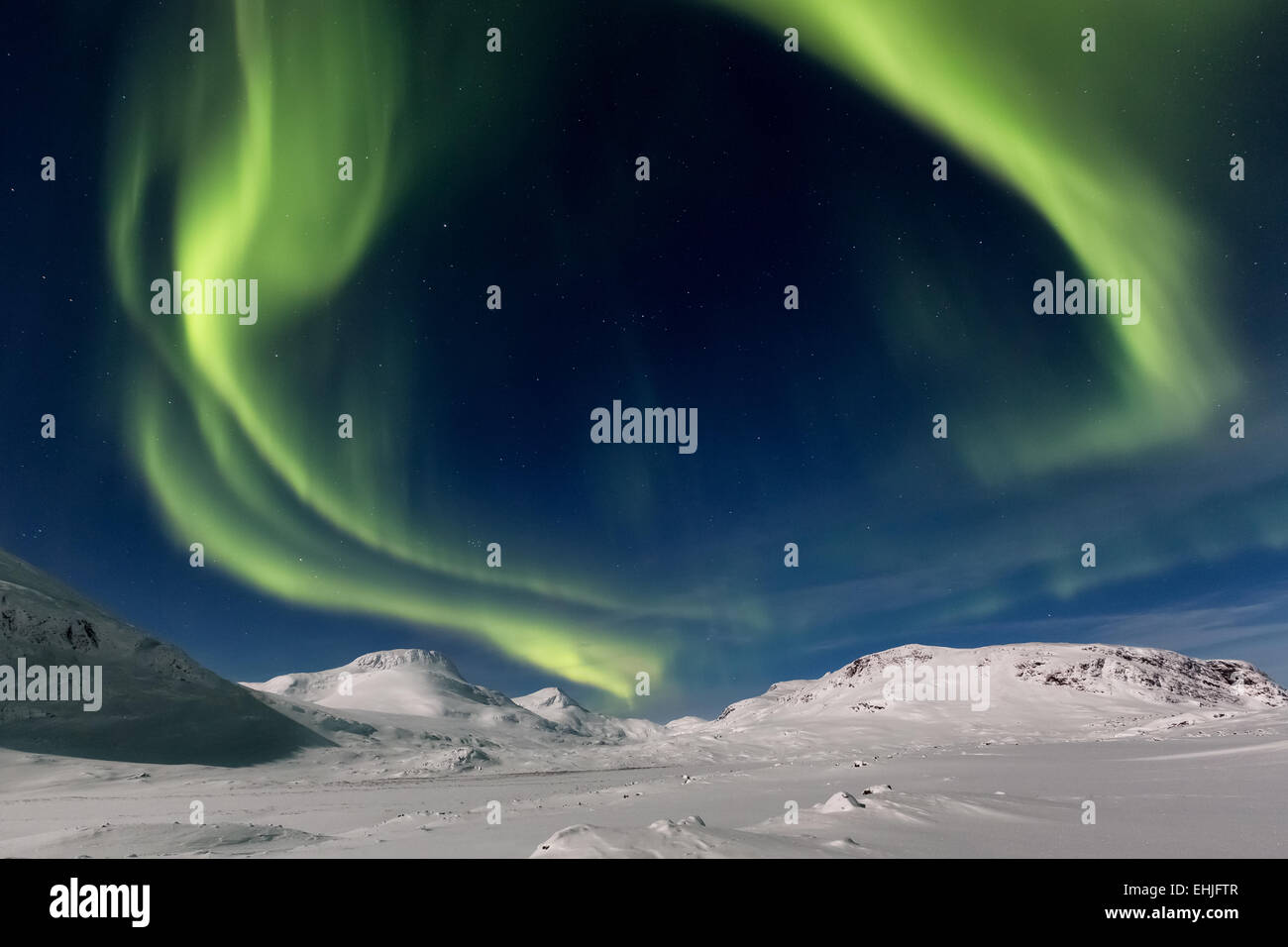 Northern lights at Singistugorna huts, Kebnekaise mountain area, Kiruna, Sweden, Europe, EU - Stock Image