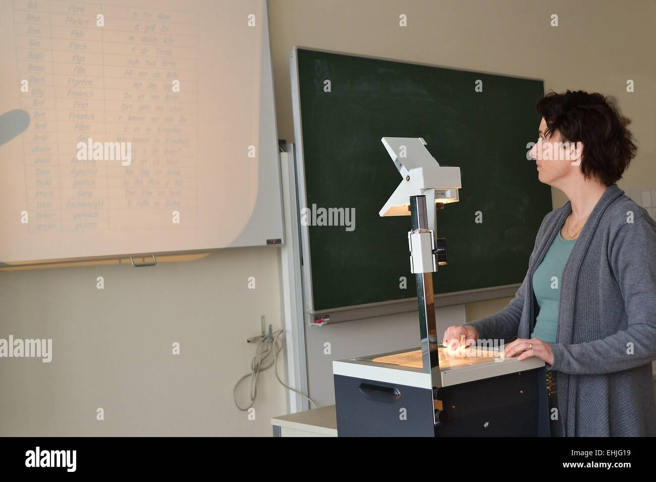 teacher in school class Stock Photo