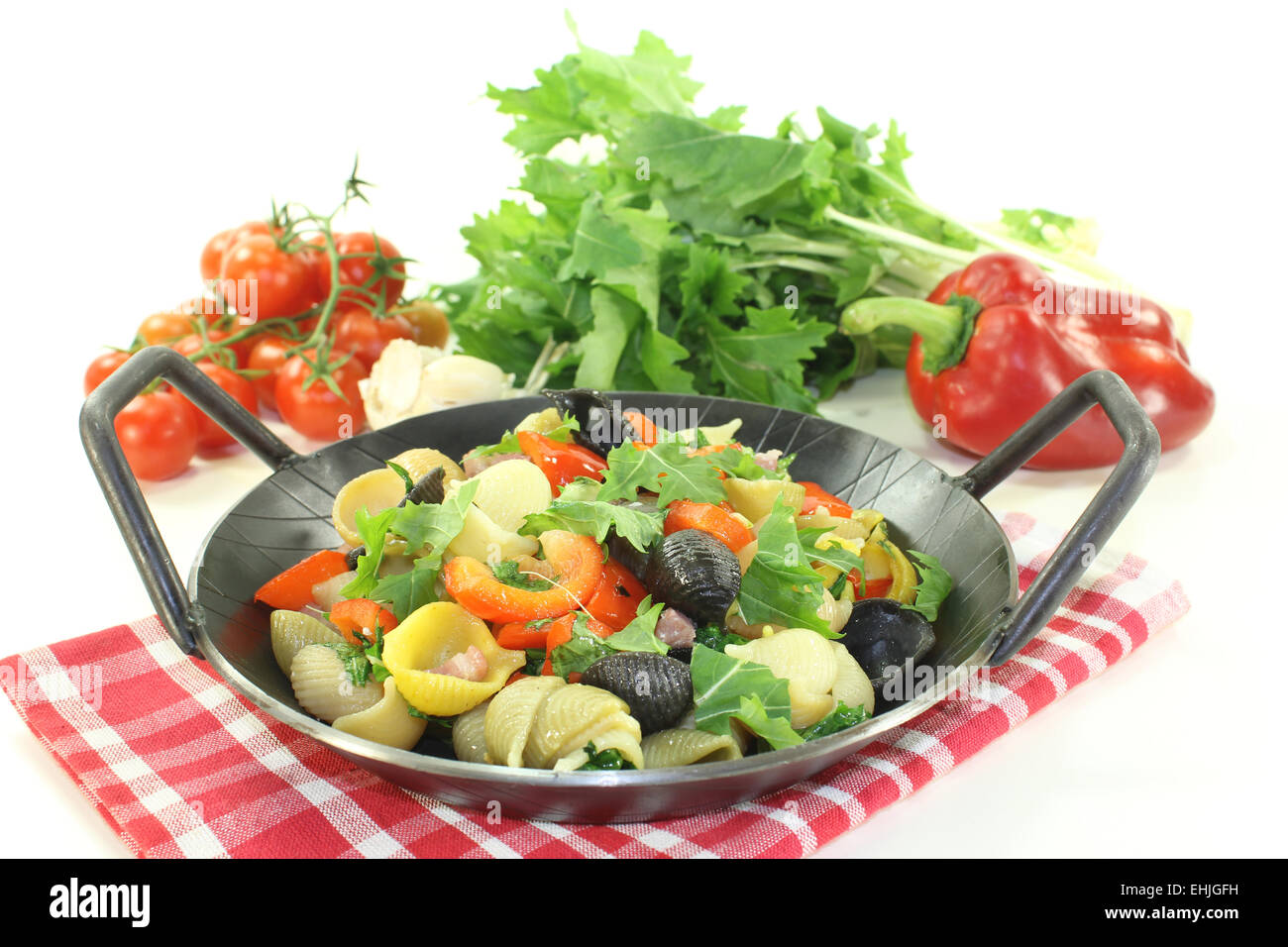 Pasta pan with turnip greens Stock Photo