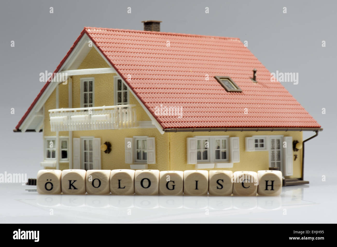Model house with word Ecologically Stock Photo