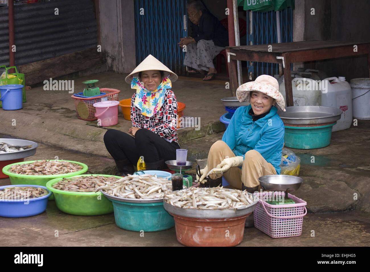 Market-scene,fish,vendors,Phu,Quoc,Vietnam,Asia - Stock Image