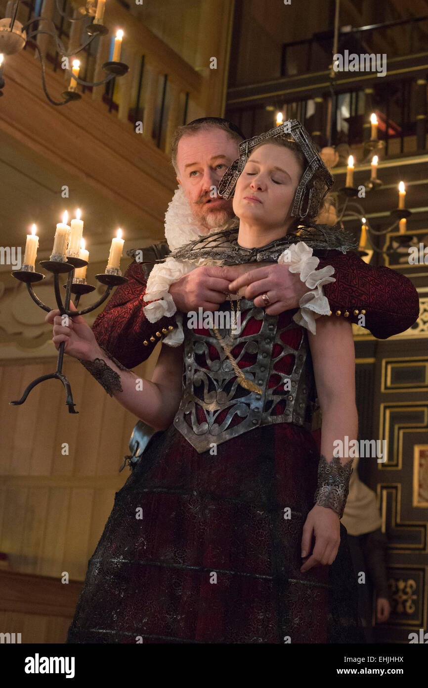 London, UK. 14 March 2015. Pictured: Owen Teale as Bassanes and Amy Morgan as Penthea. Photocall for the play 'The - Stock Image