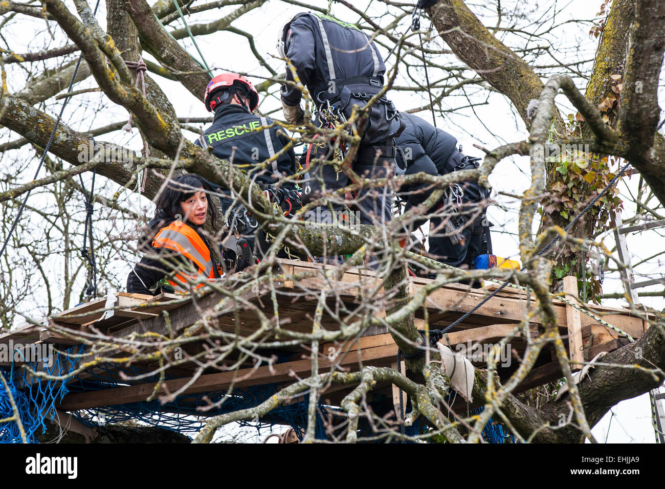 Bristol, UK. 14th Mar, 2015. A protester who is locked onto a treetop platform is unwillingly 'rescued' - Stock Image