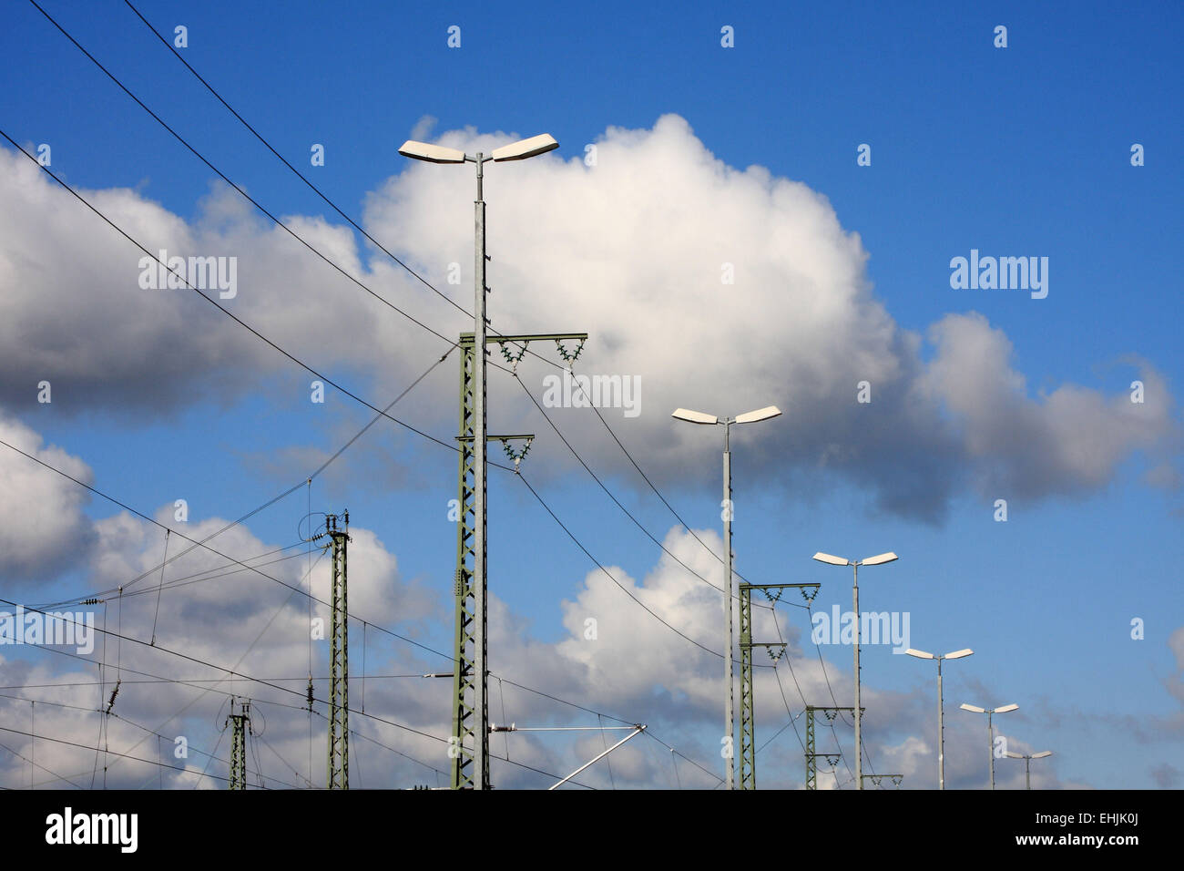 Station lights and the train lines - Stock Image