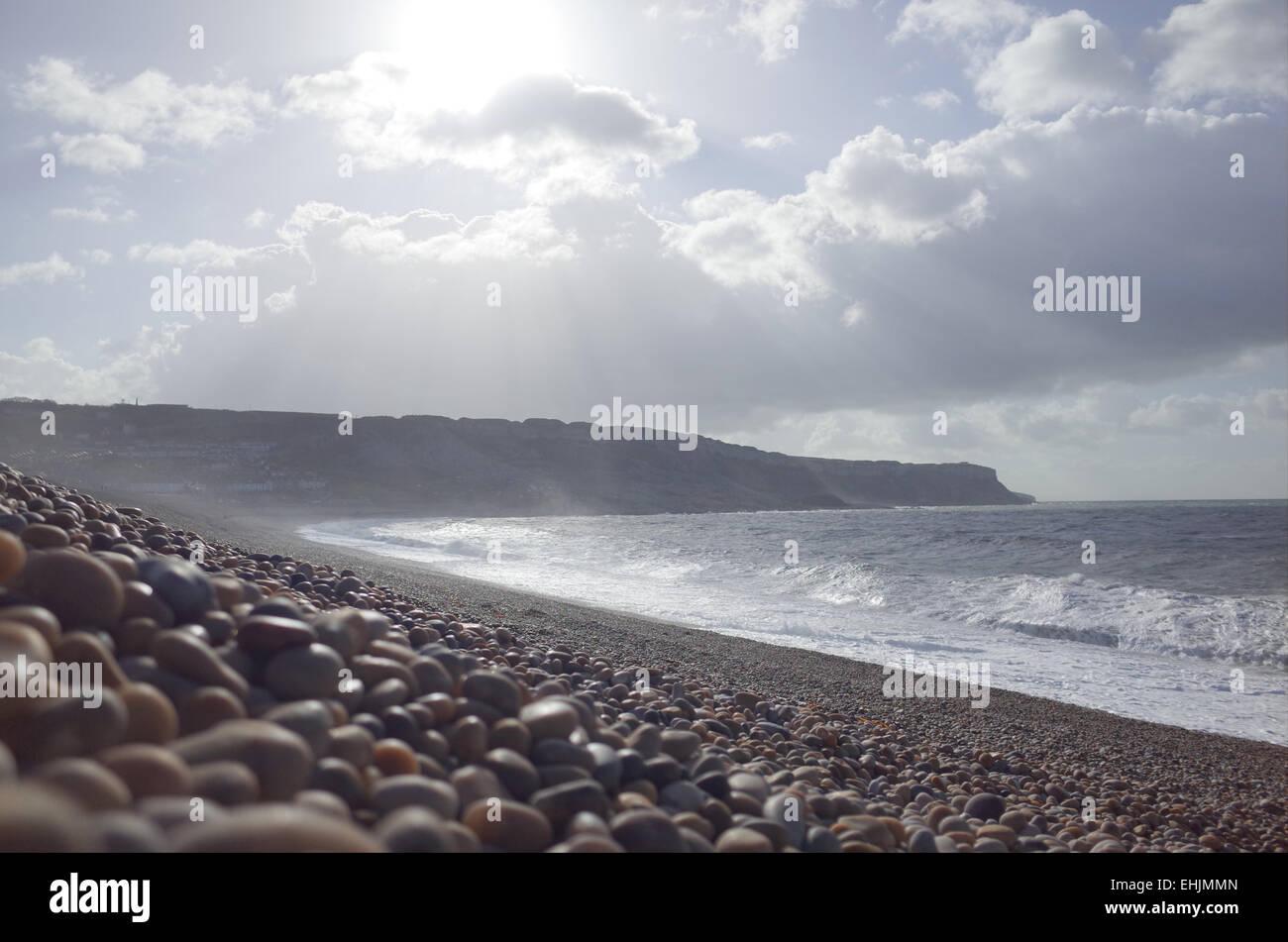Pebble stones on Portland Beach in Dorset England UK - Stock Image