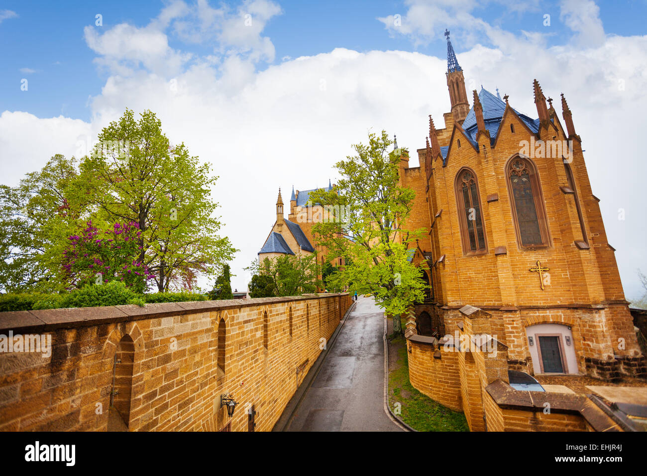 The beautiful Hohenzollern castle from inner yard - Stock Image
