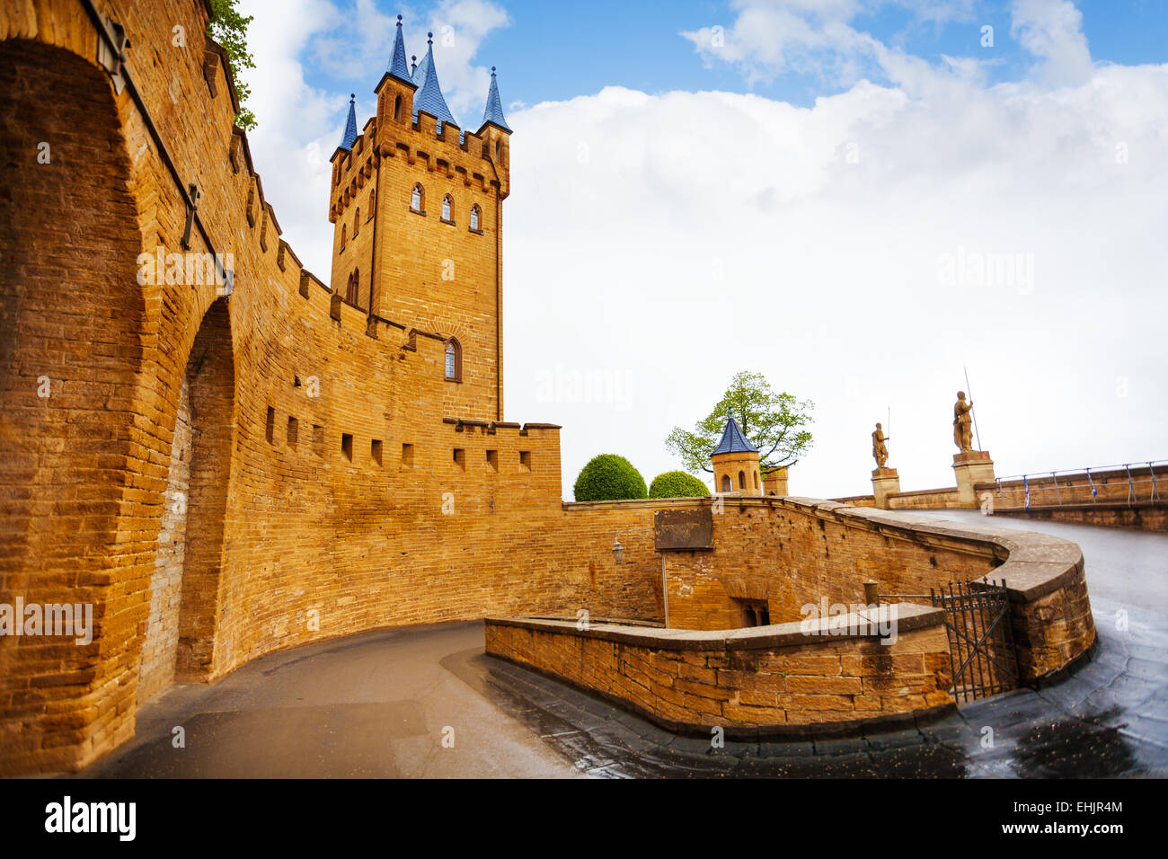 Inner yard of Hohenzollern castle after rain - Stock Image