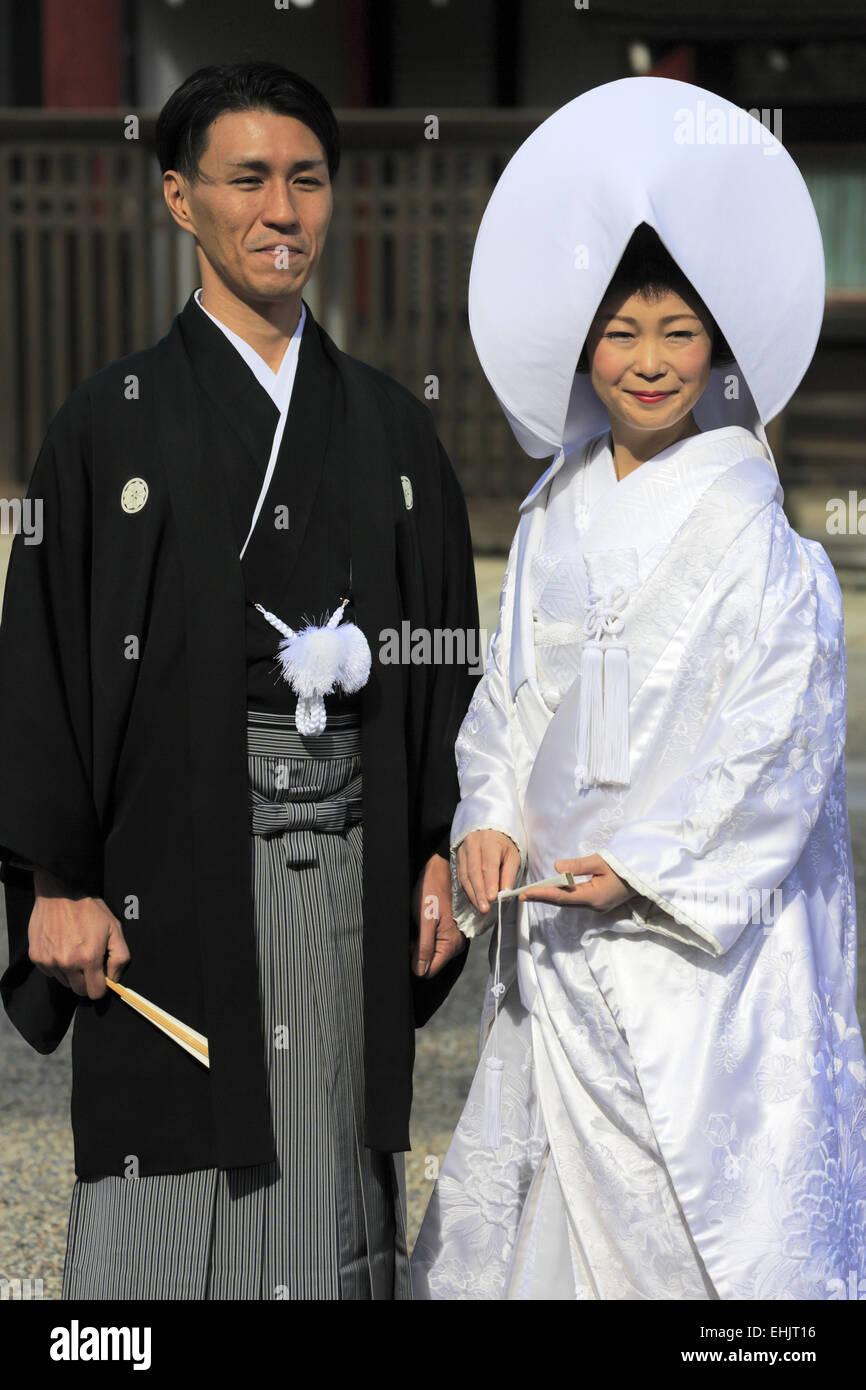 Japanese Wedding Kimono.A Japanese Couple In Traditional Japanese Wedding Kimono Posing For