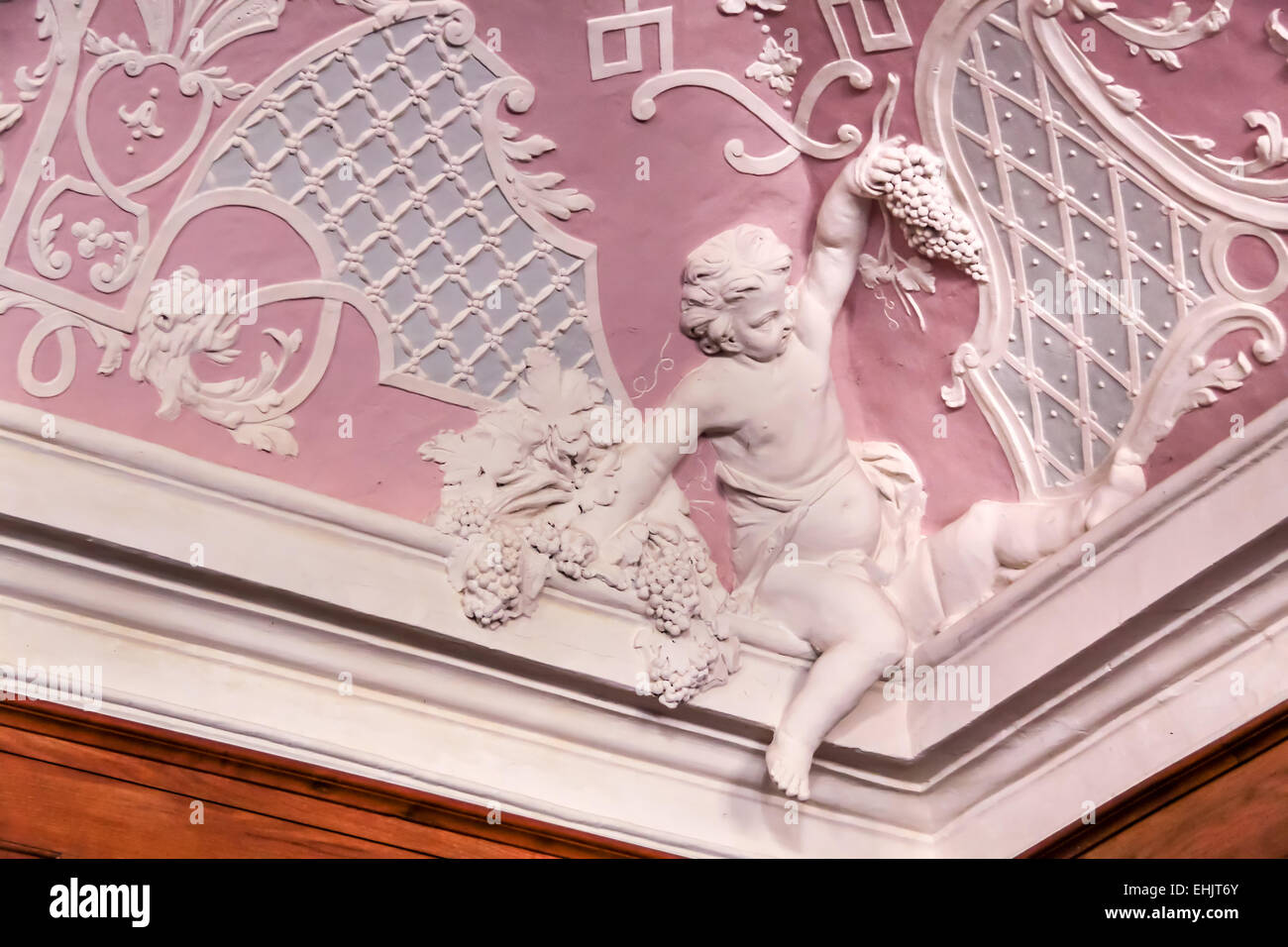 Baroque Angel on a stucco ceiling in a Cistercian monastery - Stock Image