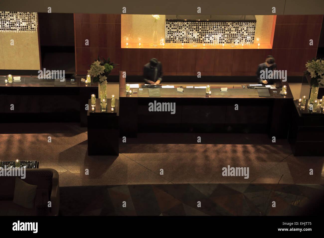 Earth Day energy saving night in the lobby reception of the Four Seasons Hotel Sydney, Sydney Australia - Stock Image