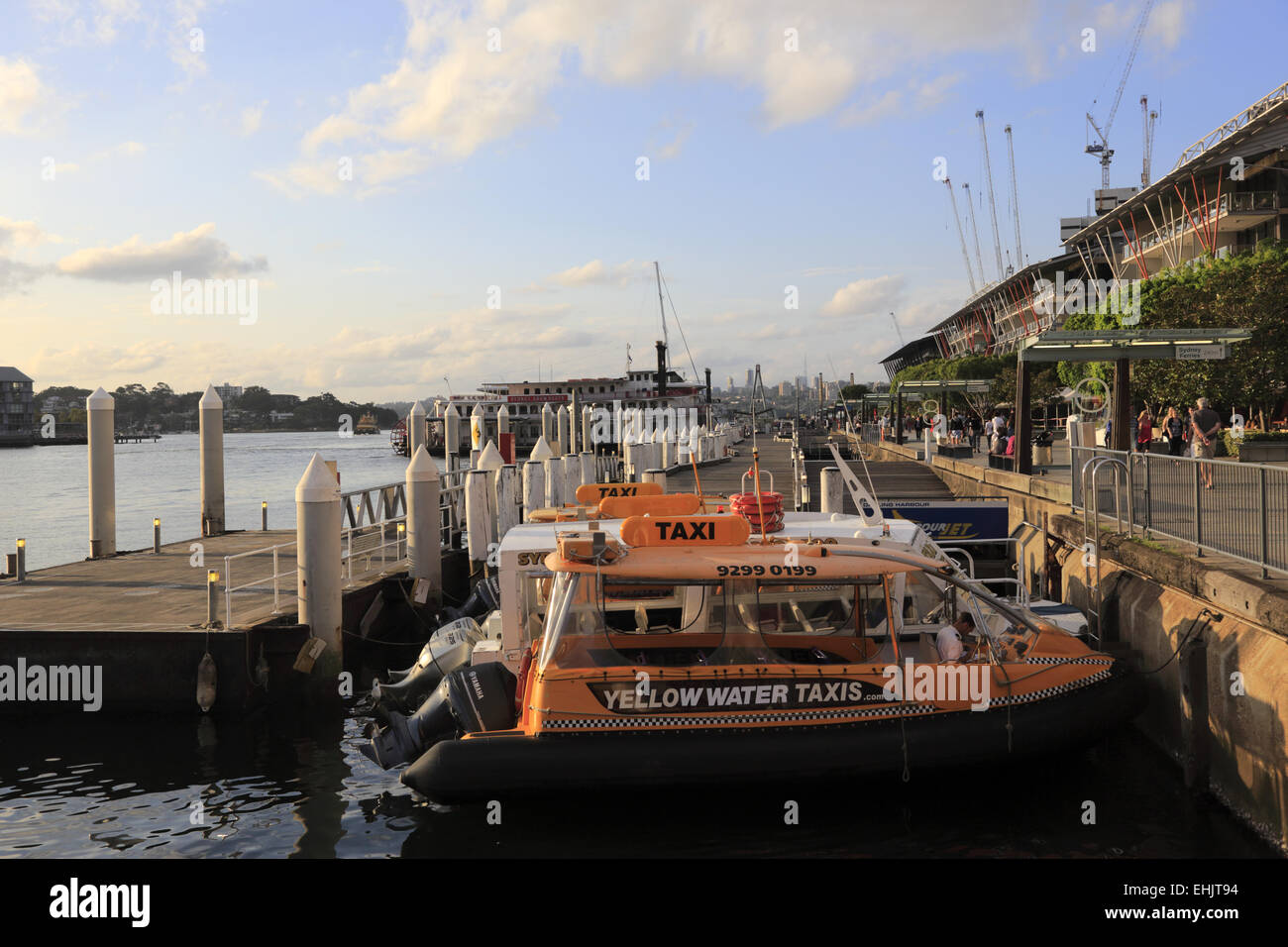 Water taxis docking in Darling Harbour, Sydney, Australia - Stock Image