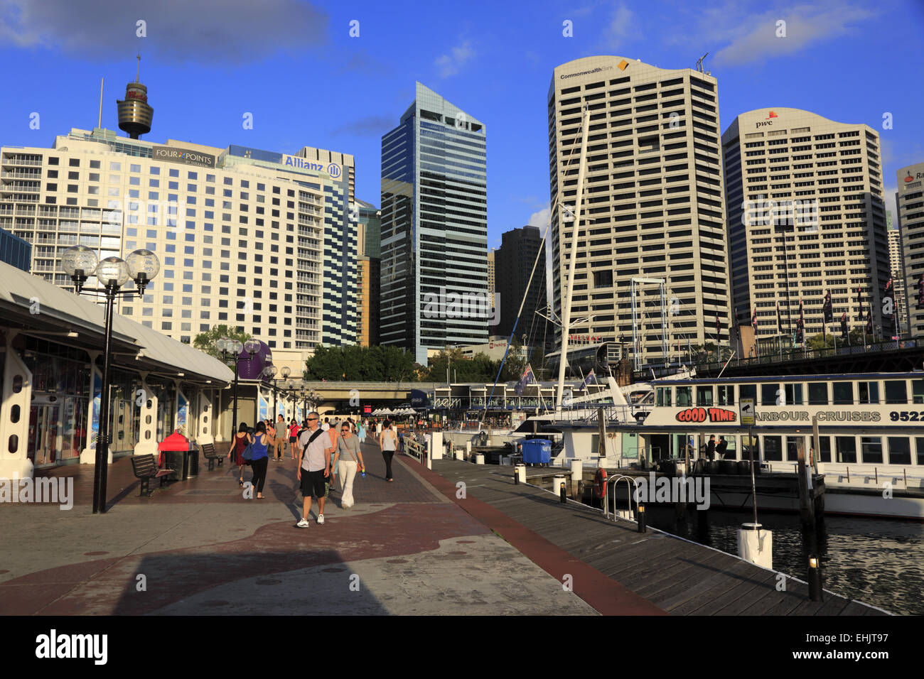 The view of Sydney Central Business District downtown from Darling Harbour, Australia - Stock Image