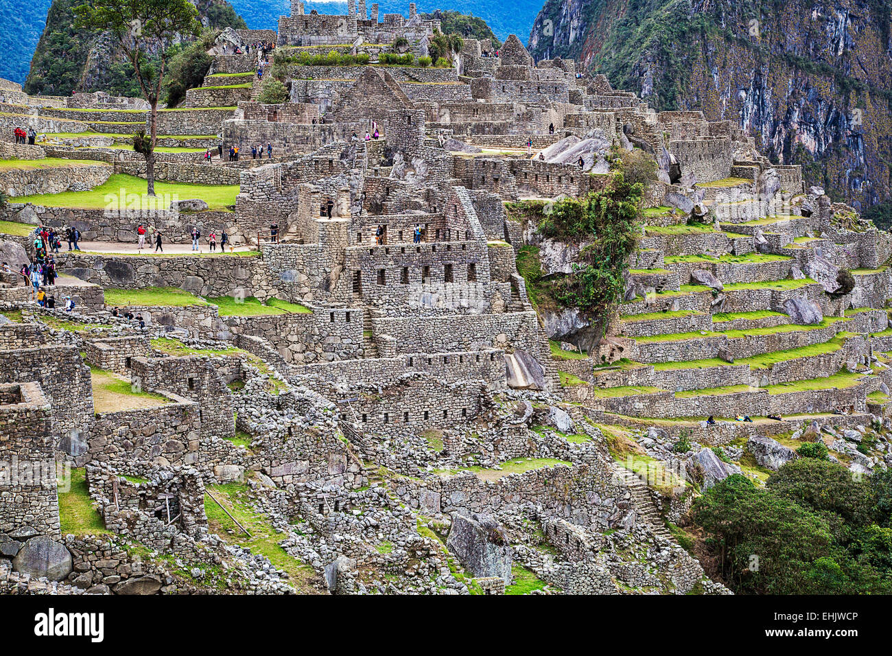 Built as a summer palace for the Inca royal Pachacuti, Machu Picchu is today a major tourist attraction. Stock Photo
