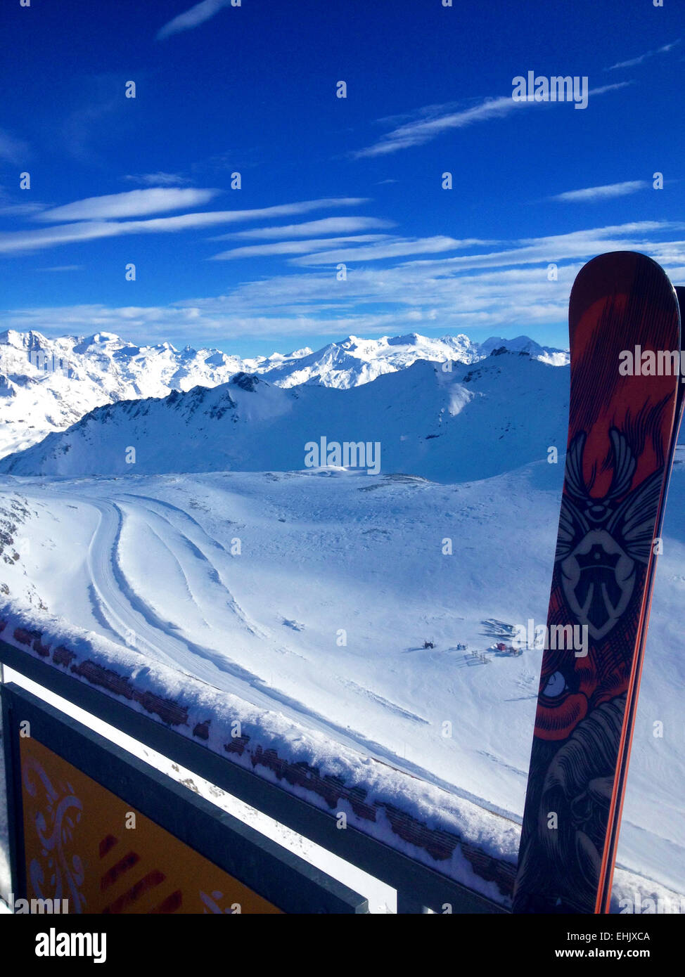 View from the top of the Val Claret, Tignes Funicular across the Alps, France - Stock Image