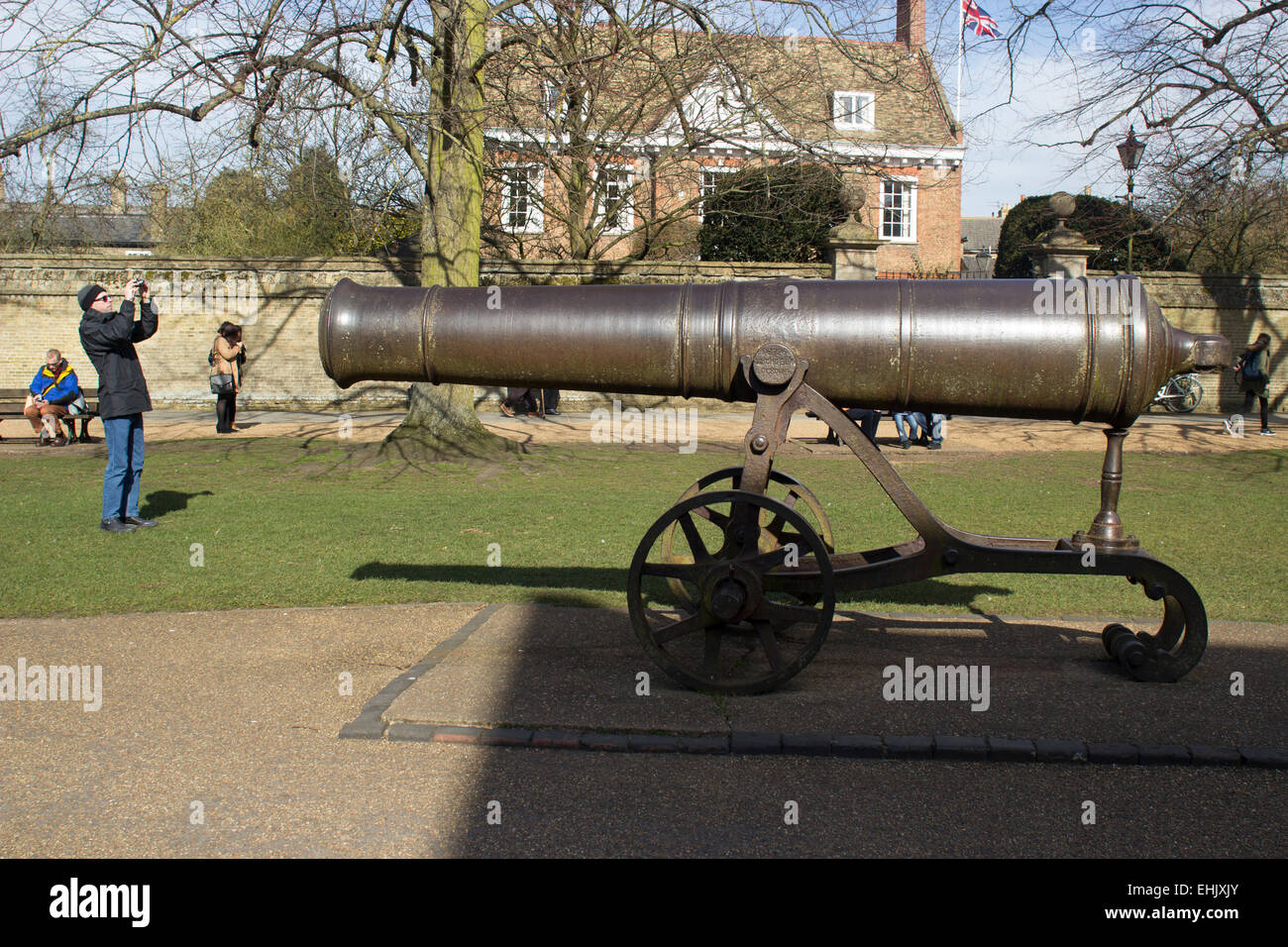 Ely captured Russian Canon at Ely Cathedral, given by Queen Victoria in 1860 after the Crimean War - Stock Image