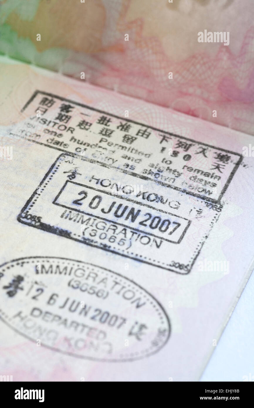Passport Stamps from Hong Kong, ten years after the handover from British rule to China - Stock Image