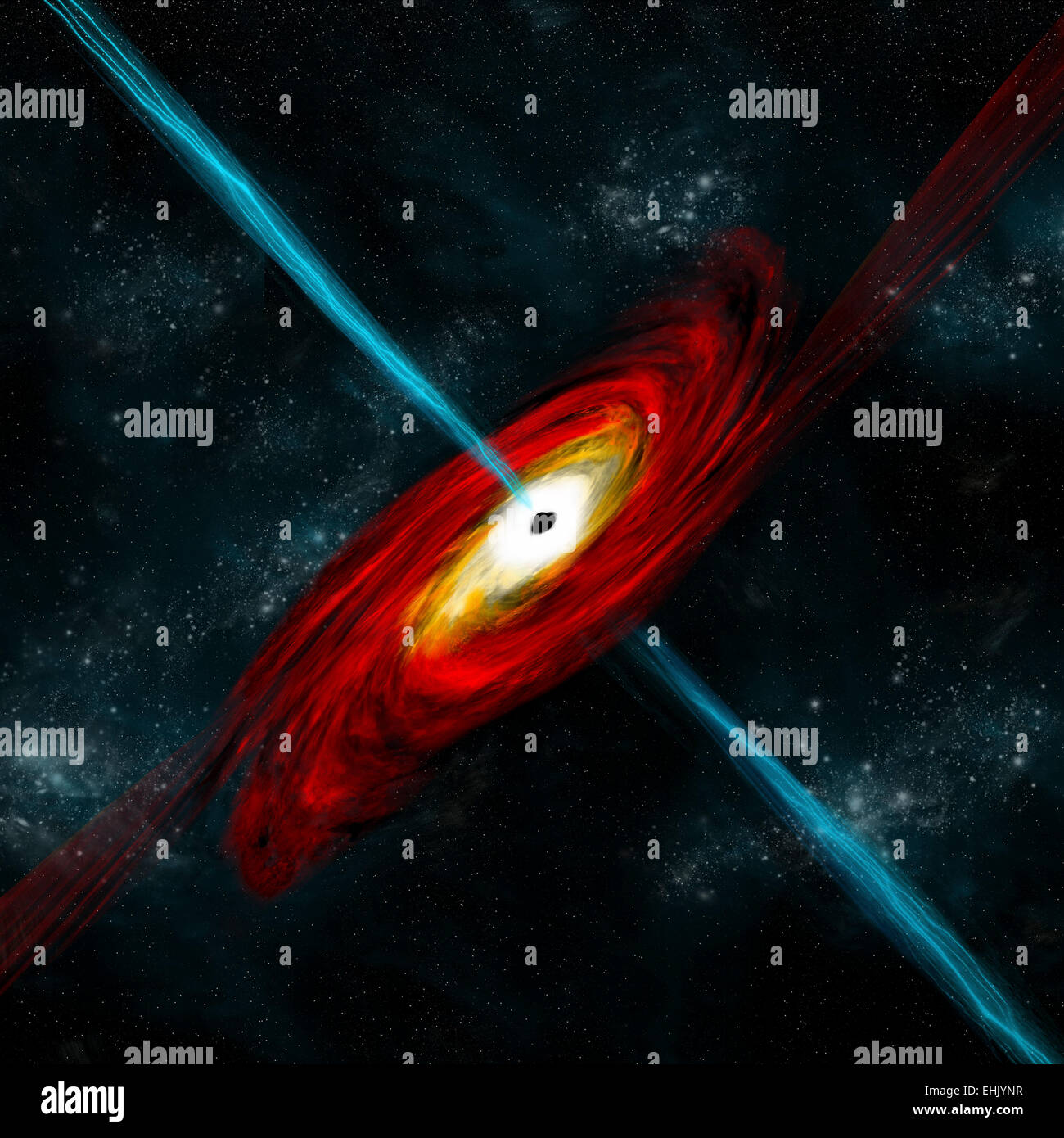 An artist's depiction of a black hole in interstellar space pulling in gas and dust that start to heat. Gamma - Stock Image