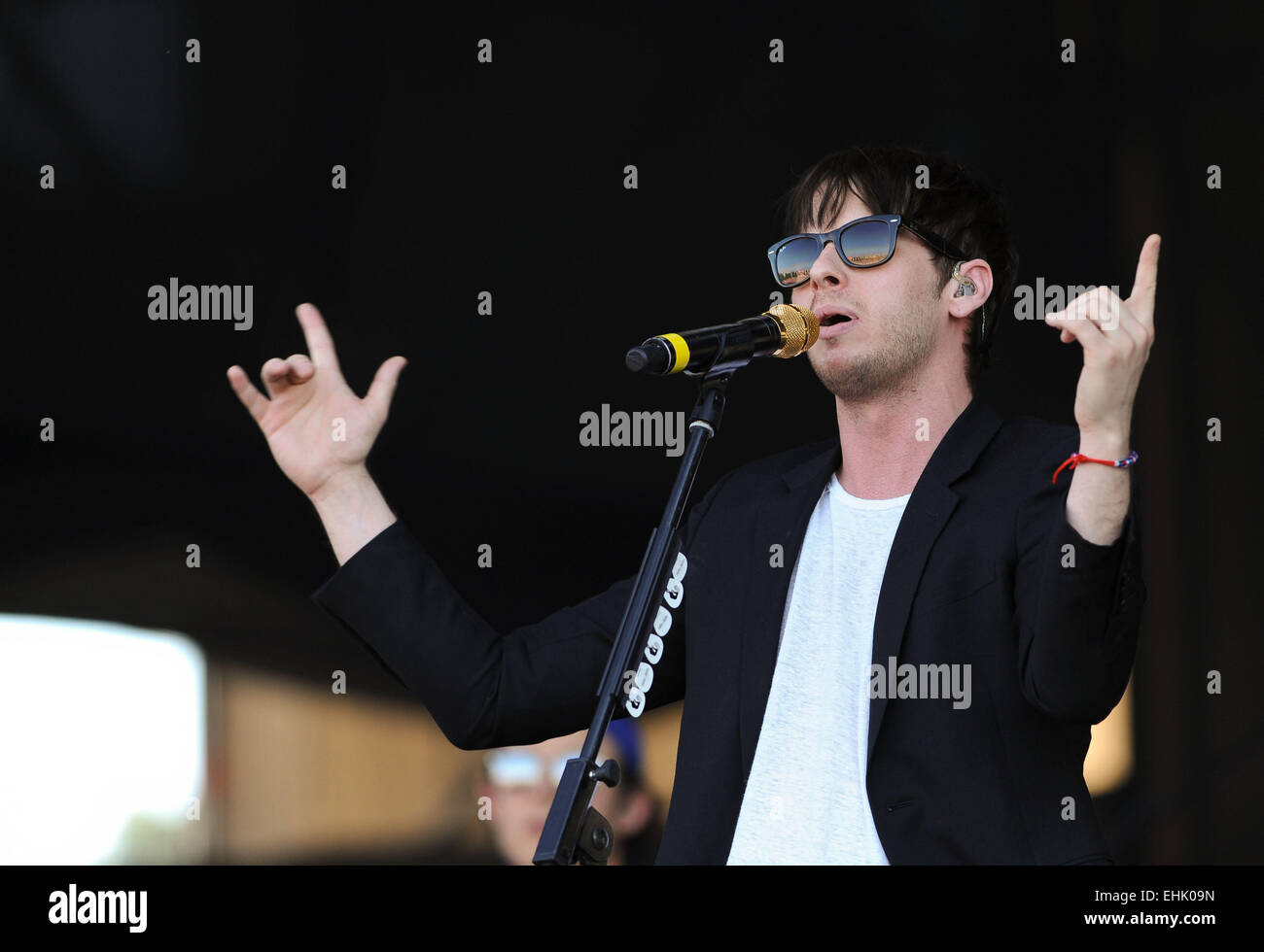 Santiago, Chile. 14th Mar, 2015. A member of the U.S. band 'Foster The People', performs during the Lollapalooza - Stock Image