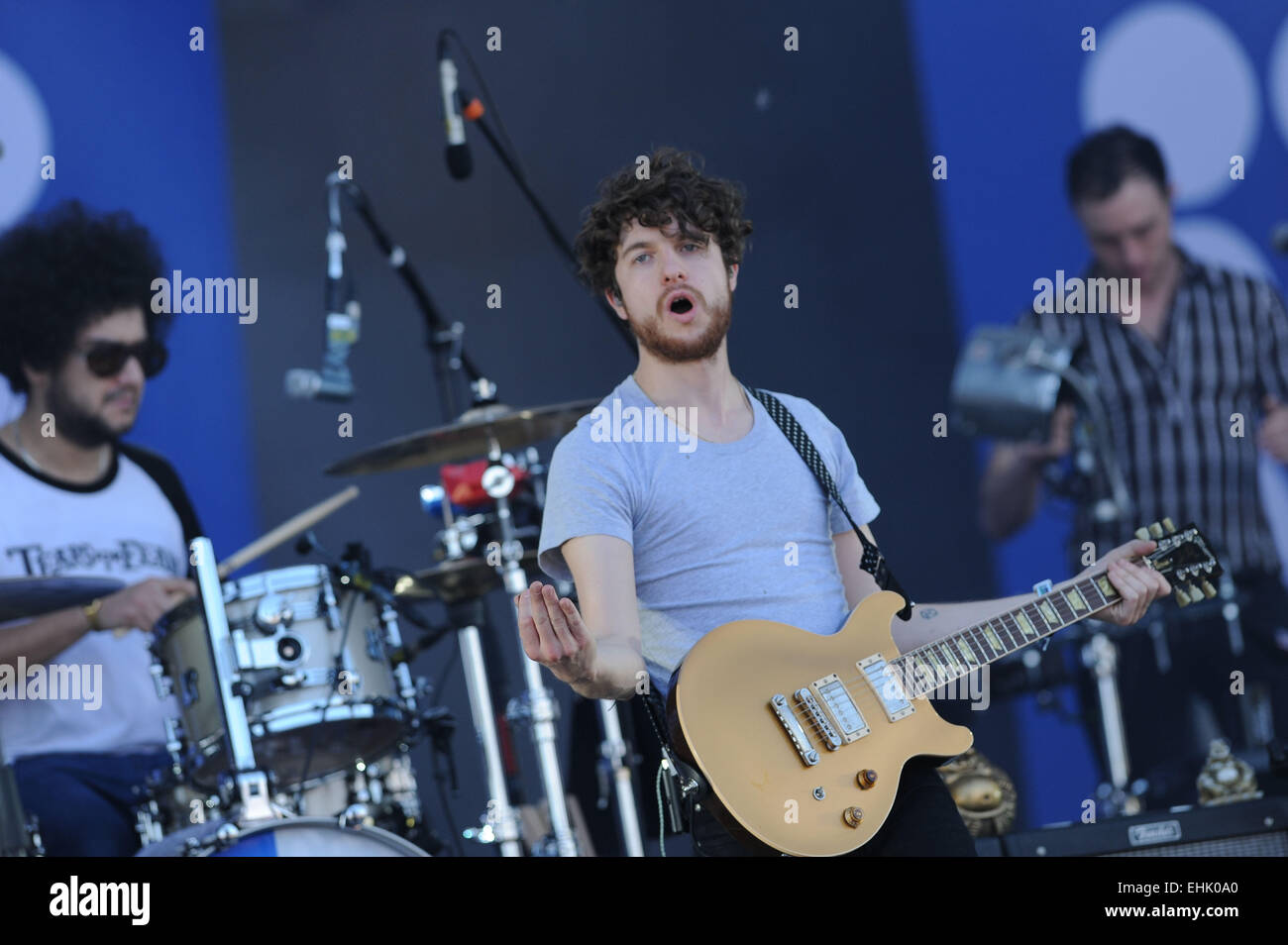 Santiago, Chile. 14th Mar, 2015. Members of the British band 'The Kooks', perform during the Lollapalooza - Stock Image