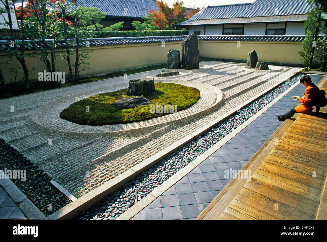 The City of Kyoto is a unique reserve for ancient Zen gardens and shrines that are over nine hundred years old. Stock Photo