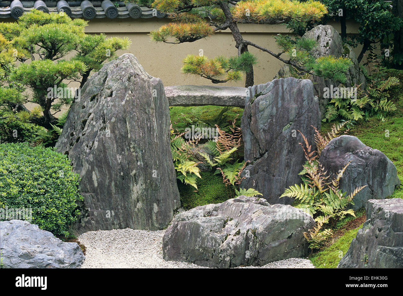 A detail of the arrangements of stones and plants and gravel at this sub temple in Daitokuji warrents a second glance. - Stock Image