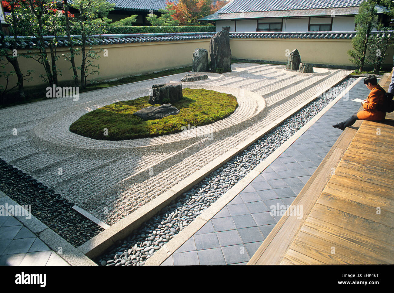 Ryoanji is a subtemple of Daitokuji and is one of several Zen gardens that were founded in the 15th century. - Stock Image