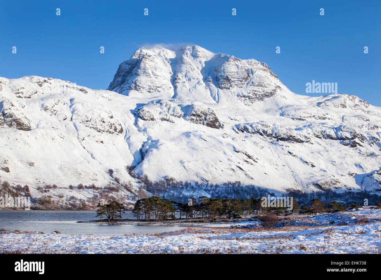 Slioch and Loch Maree Wester Ross Highlands Scotland - Stock Image