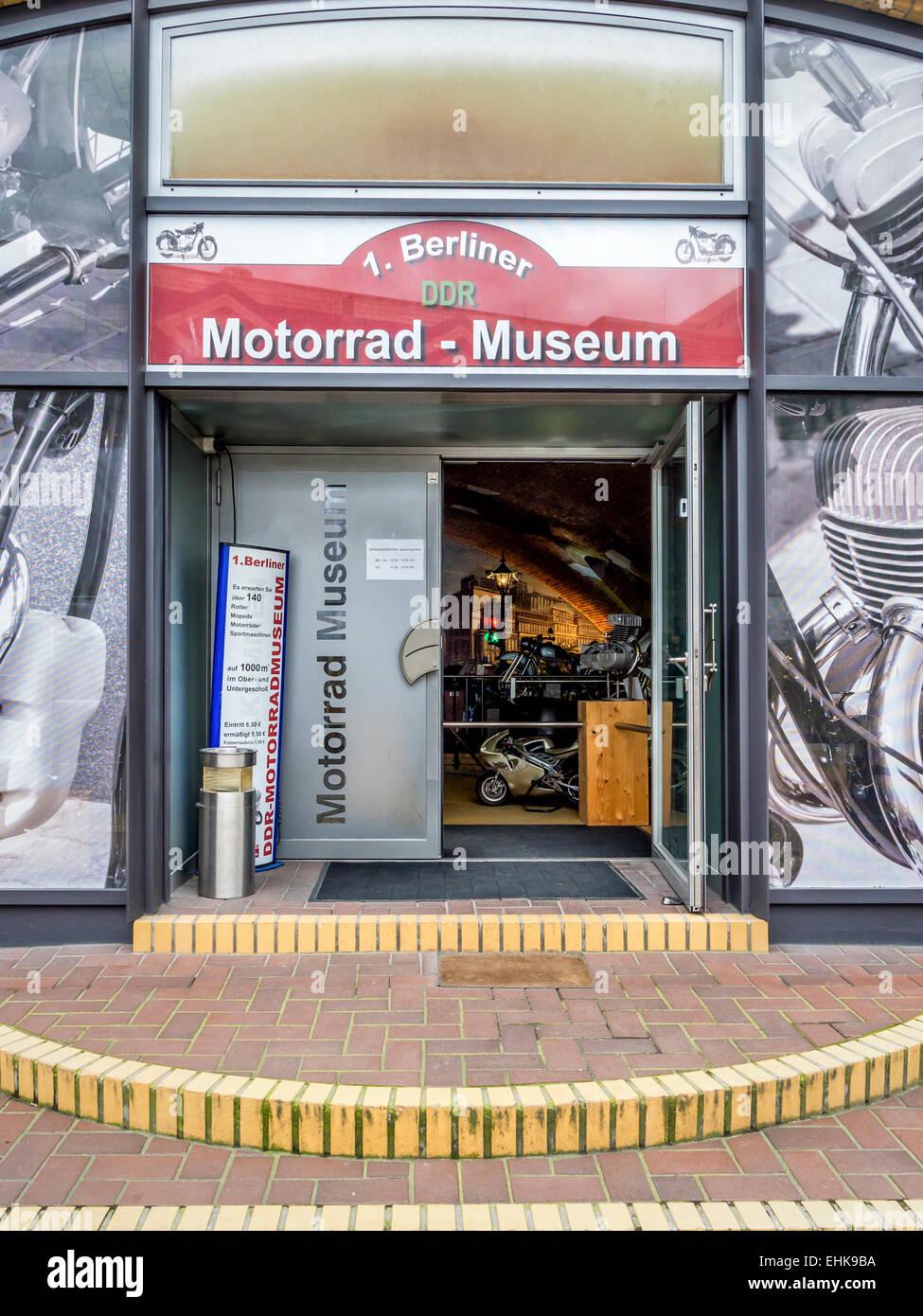 Berlin Motorrad DDR Motor bike museum exterior and entrance,Photographs outside, Mitte, Berlin - Stock Image