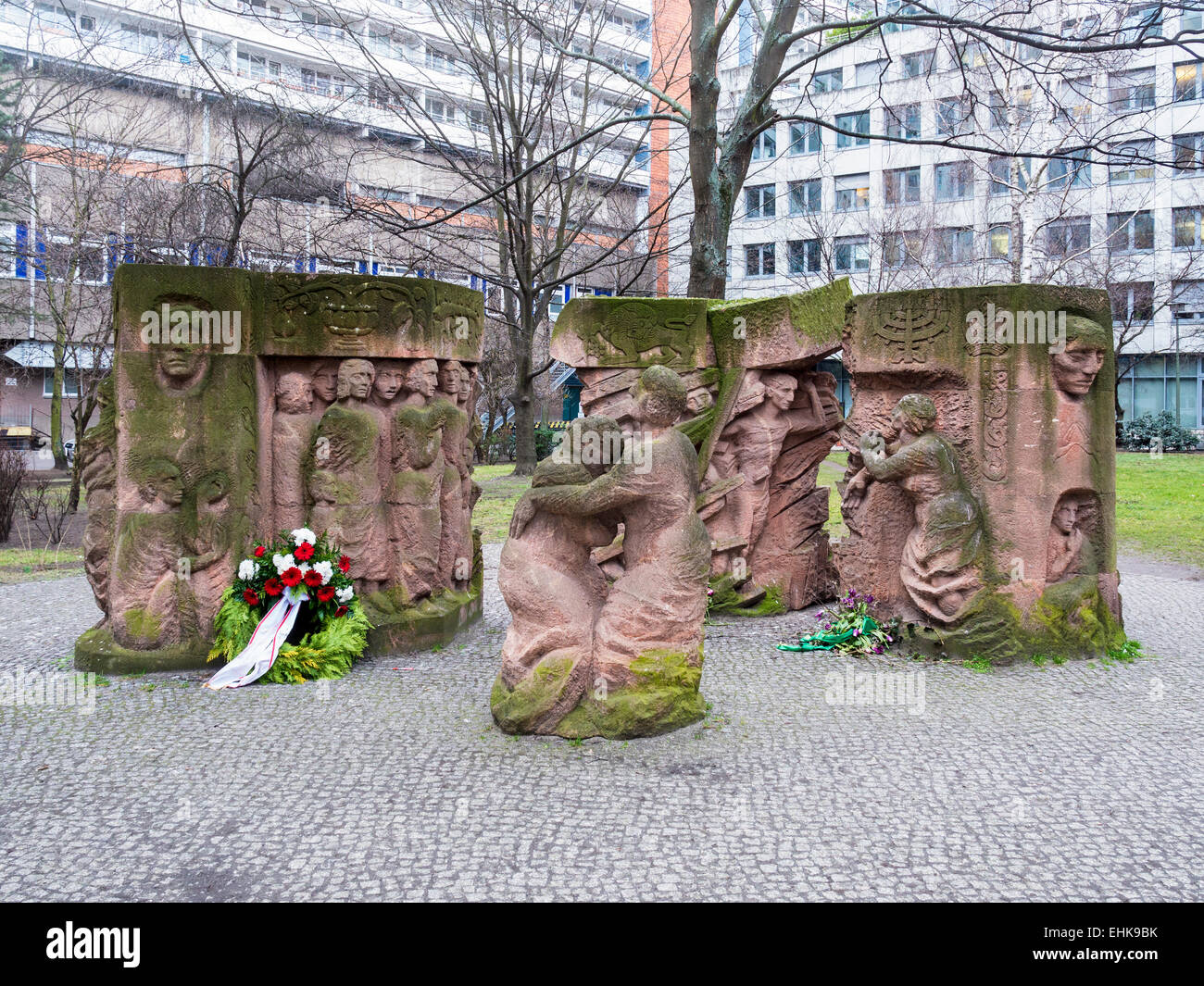 Berlin War Memorial to the Rosenstrasse protest by Aryan women about arrest of Jewish husbands - Block of Women, - Stock Image
