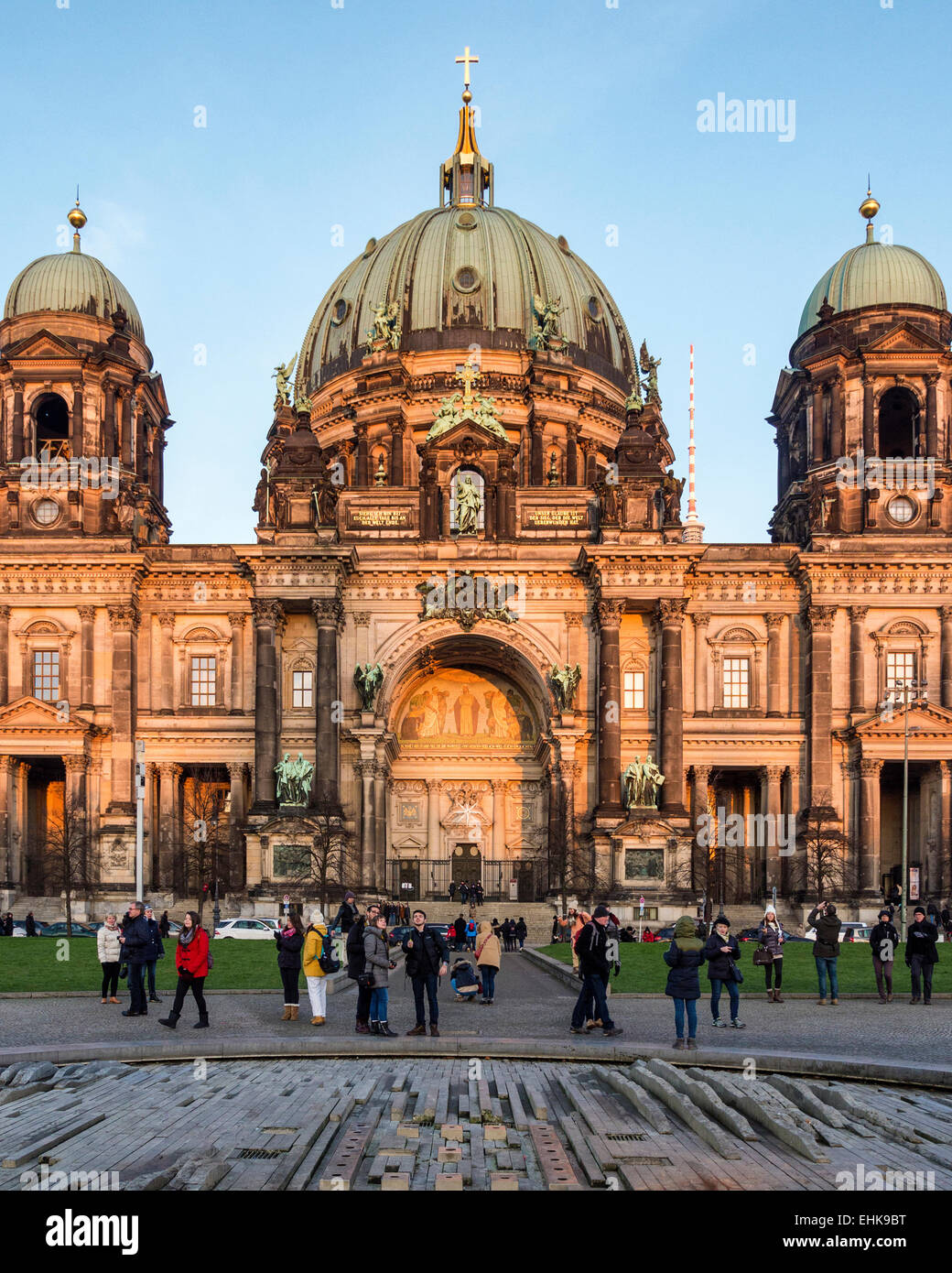 Berliner Dom, Berlin Dome, Green Dome of Baroque Protestant Cathedral on Museum Island, Museuminsel, Am Lustgarten, Stock Photo