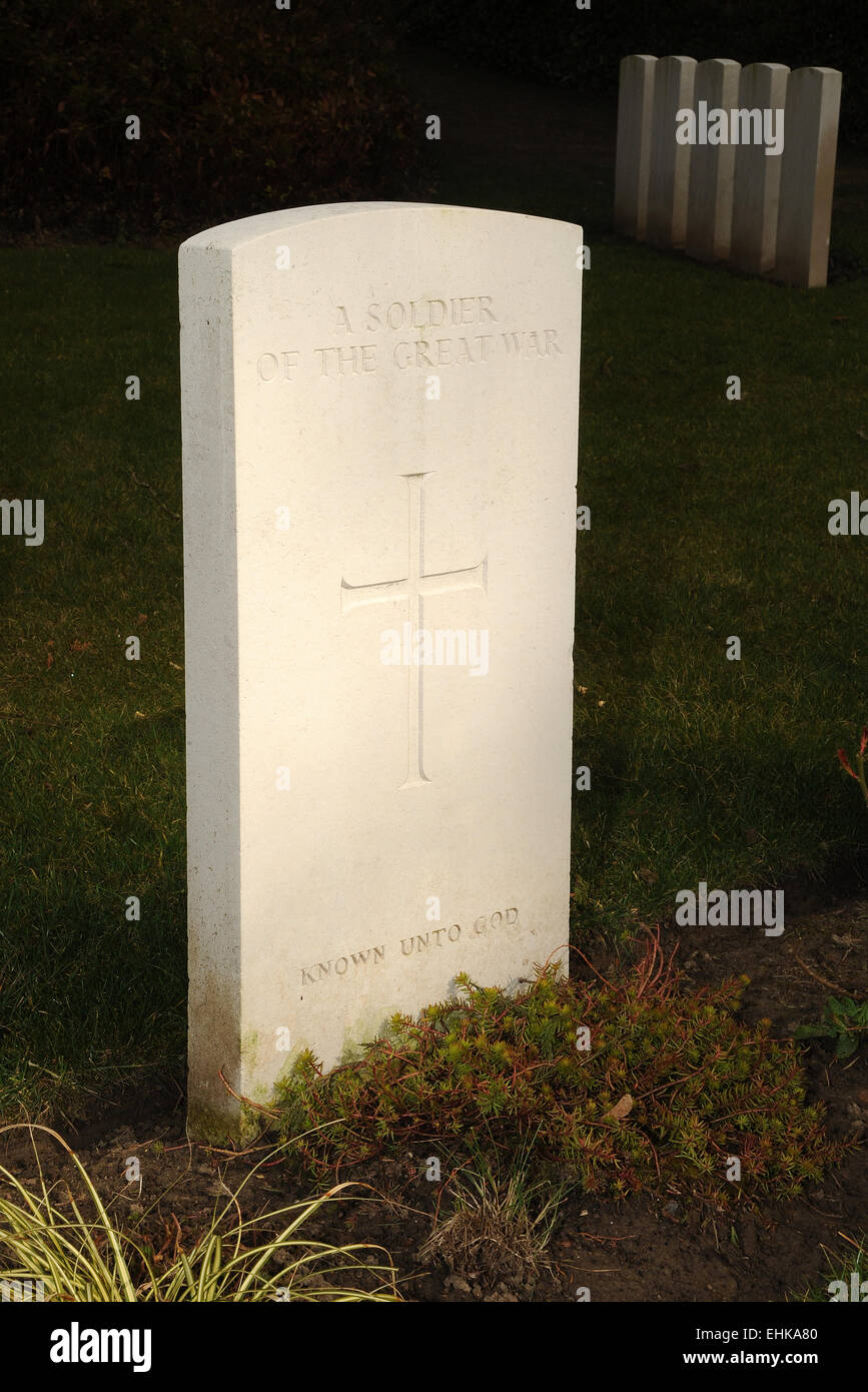 The stone marking the grave on one of the many thousands of unknown warriors who fell during the Great War WW1. - Stock Image