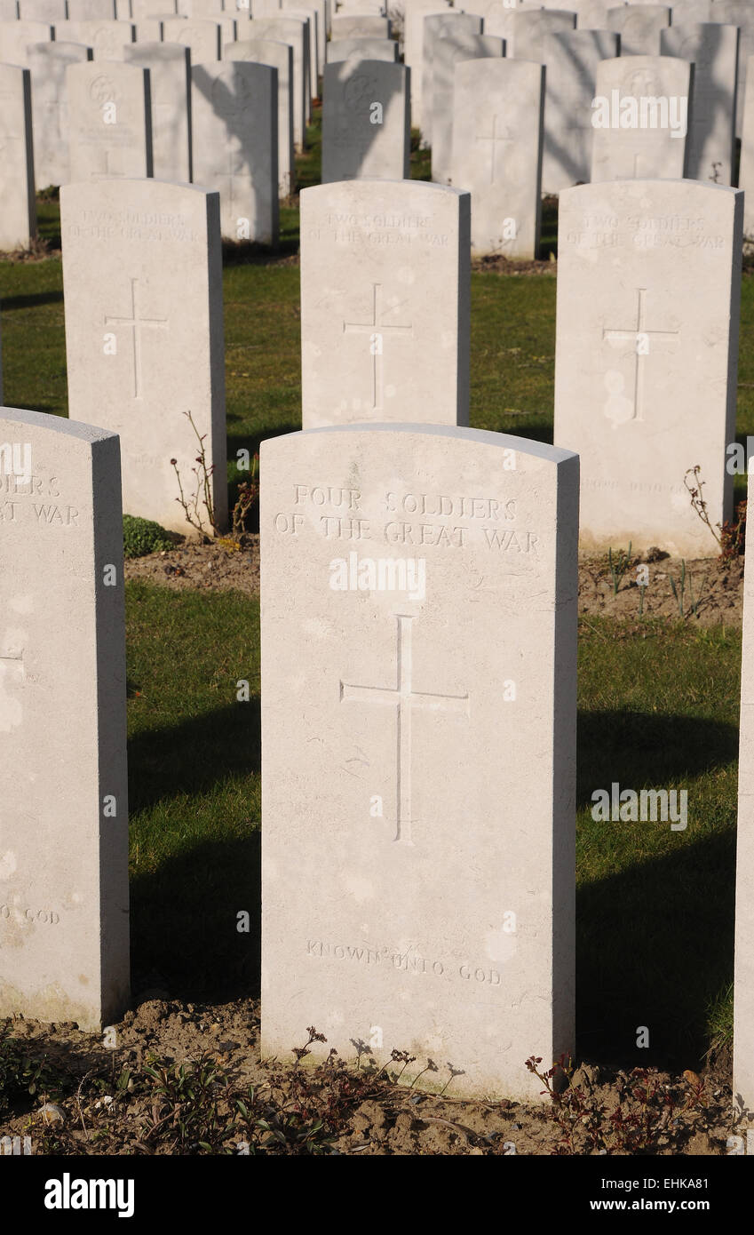 The stone marking the common grave on four of the many thousands of unknown warriors who fell during the Great War - Stock Image