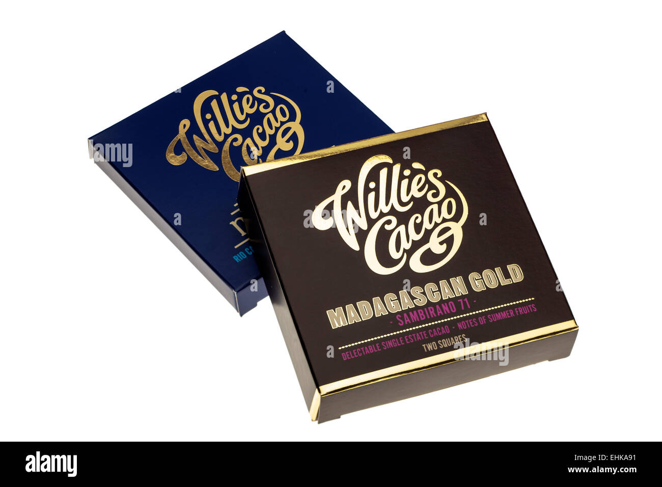 Two packs of Willies chocolate bars Madagascan Gold and Milk of the Gods - Stock Image