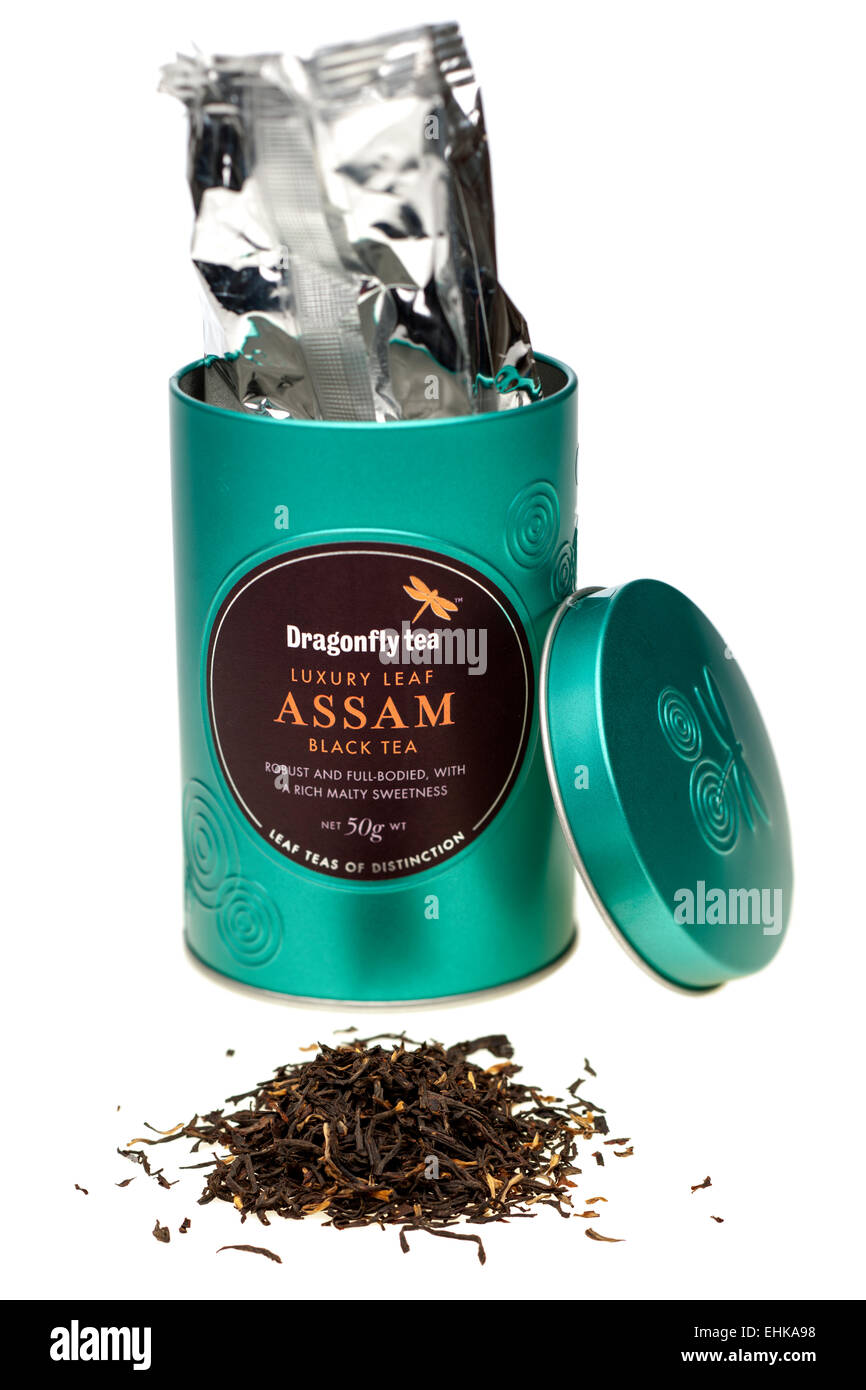 50 gram caddy of Luxury Assam black tea from Dragonfly Tea Stock Photo