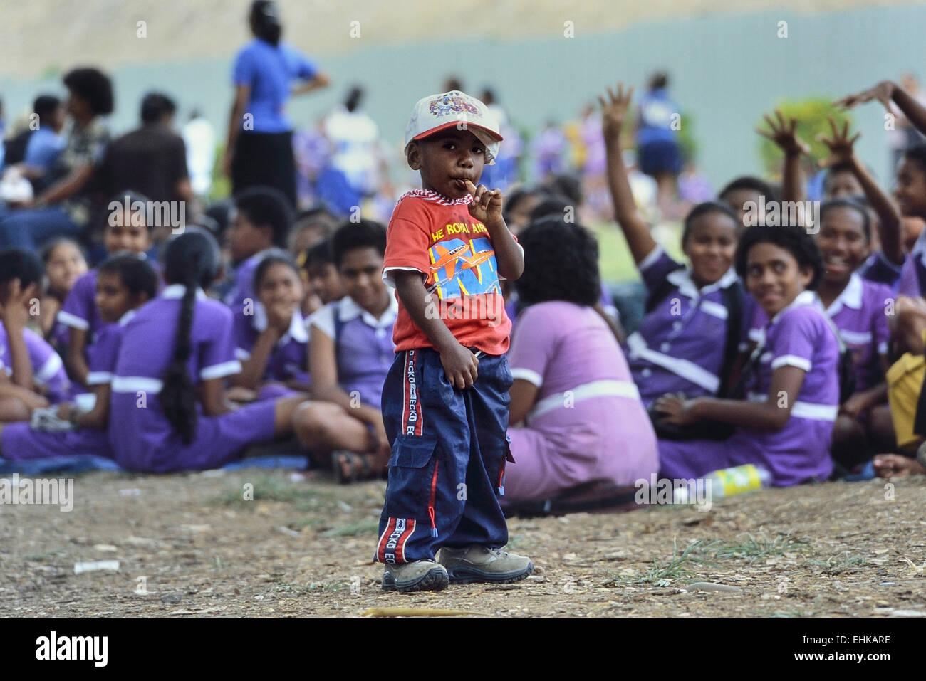 Schoolchildren at Churchill Park. Lautoka. Fiji. Pacific. - Stock Image
