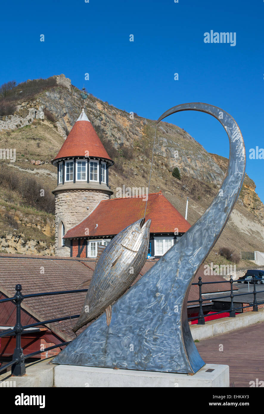 The Tunny sculpture Scarborough, by sculptor Ray Lonsdale, North Yorkshire, UK - Stock Image