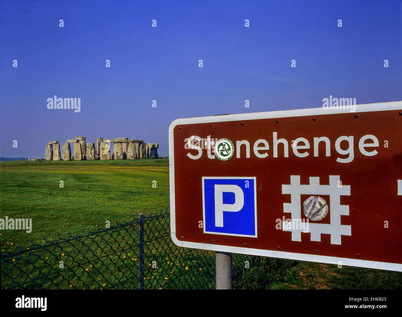 Tourist signpost at Stonehenge. Wiltshire, England, Stock Photo