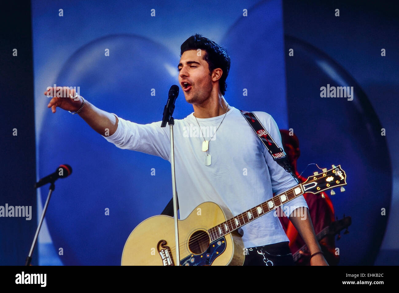Darius Campbell performing live at a Blue Peter roadshow at Skegness. 29th July 2012 - Stock Image
