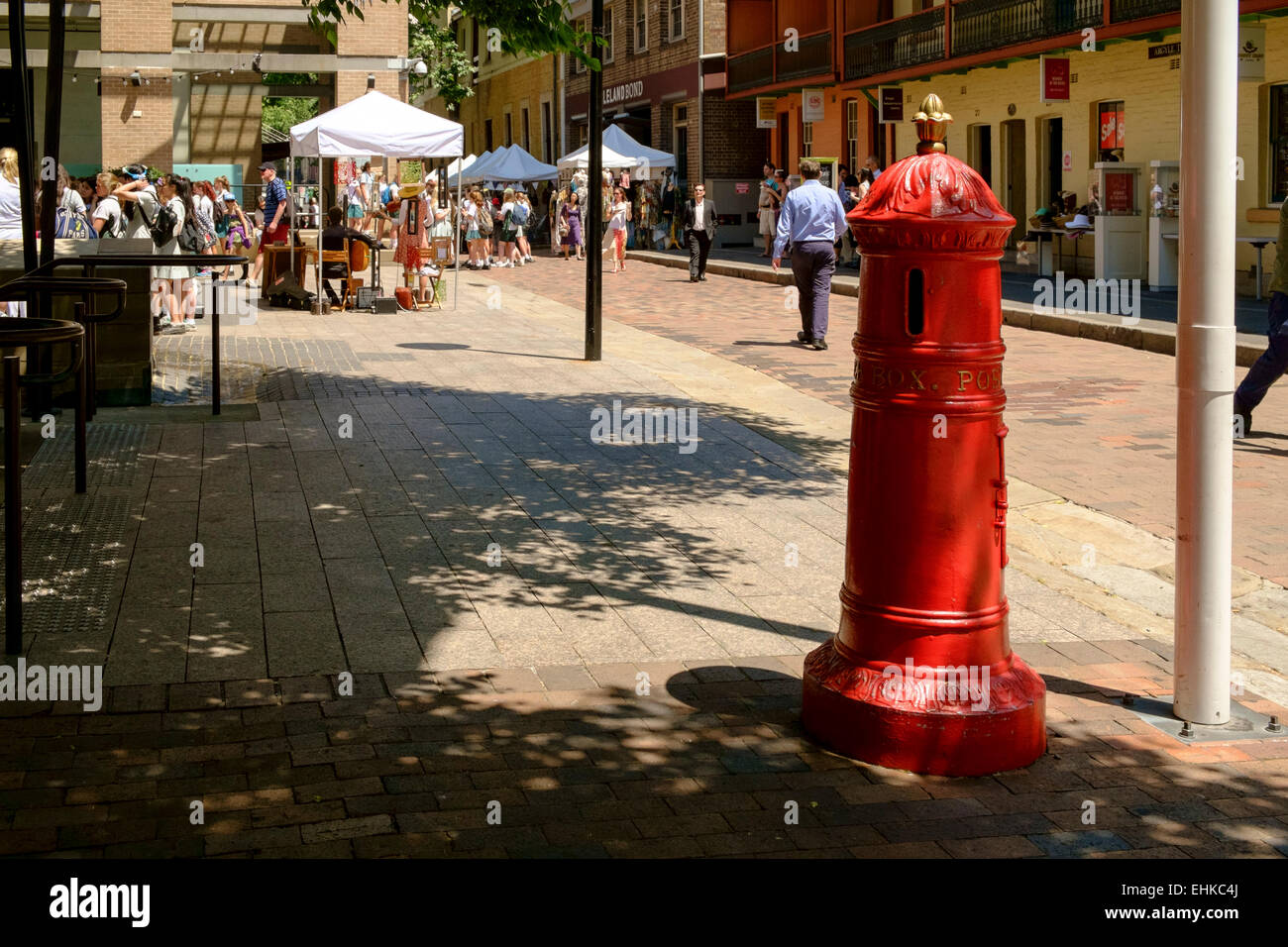 Old red postbox in the Rocks area Sydney, Australia Stock Photo