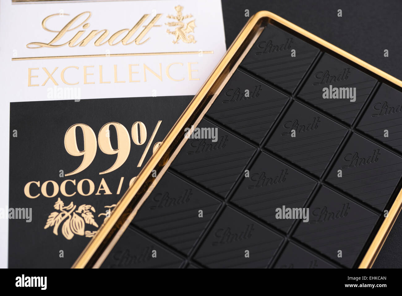 Tambov, Russian Federation - February 26, 2015 Lindt Excellence Cocoa 99% chocolate bar. Studio shot. - Stock Image