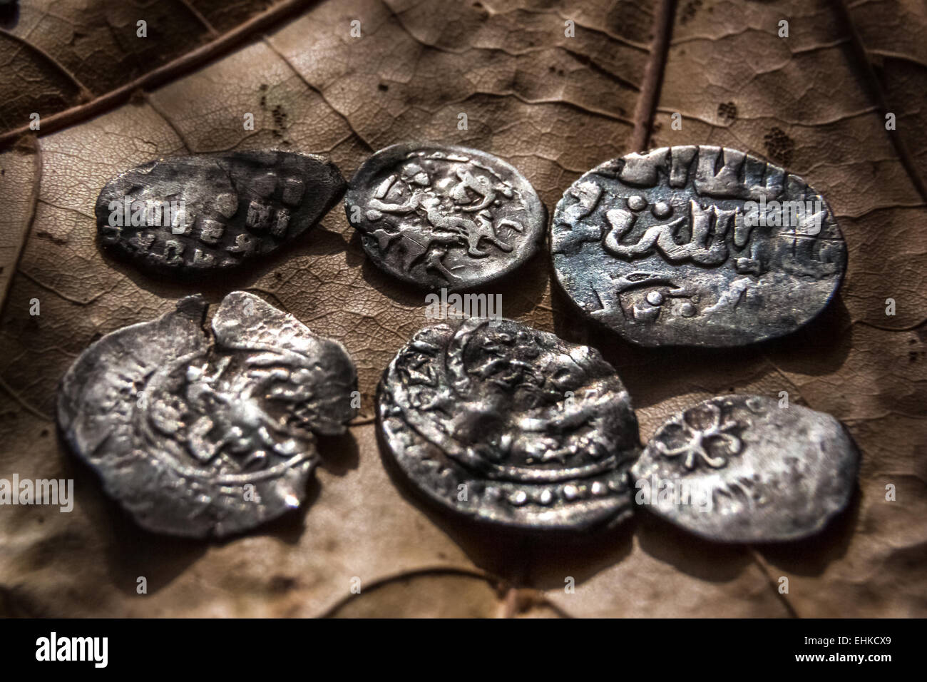 the tiny silver early medieval coins which were in use in Russia - Stock Image