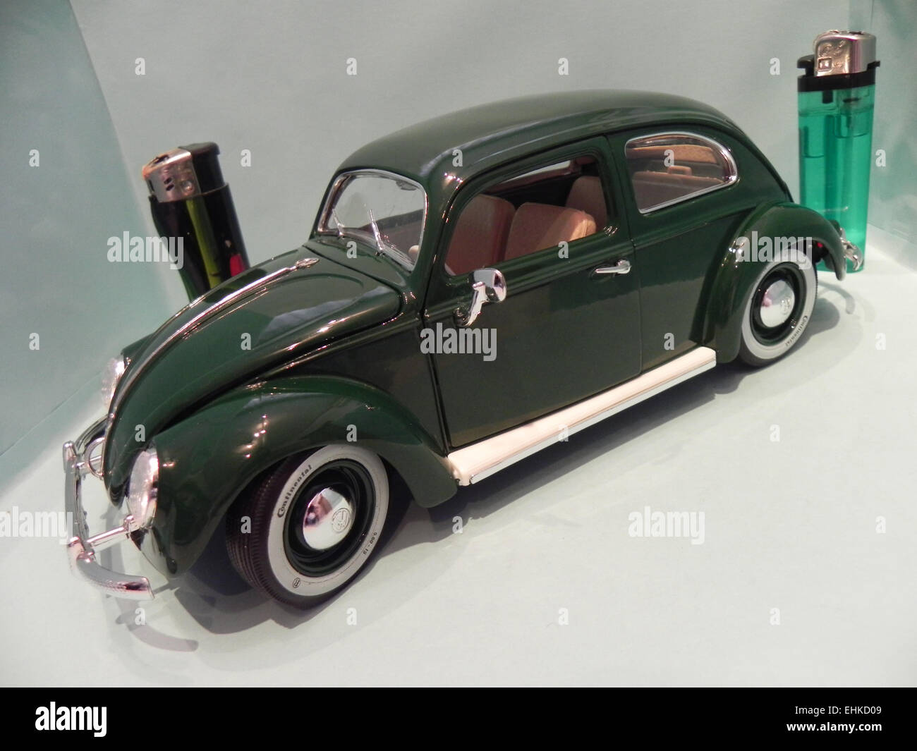 My miniature of an old Volkswagen Beetle, mythical car produced in Germany since 1938 and sold all over the world - Stock Image
